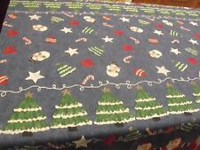 """Christmas Tablecloth, Blue Background, Colorful Design, 59"""" x 82"""", No Tags"""