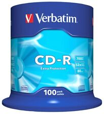 Verbatim 700MB CD-R Blank Discs 52x CD Extra Protection 80 min -100 Pack Spindle