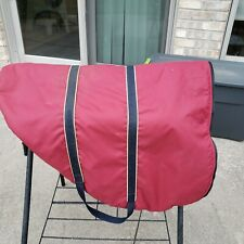 English saddle bag carrier with handles, fleece lined - maroon