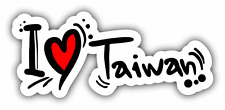 "I Love Taiwan Travel Slogan Car Bumper Sticker Decal 6"" x 3"""