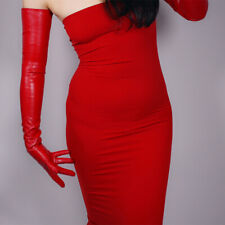 LATEX LONG GLOVES red Faux Patent Leather  Opera Evening 70cm