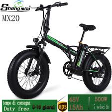 "20"" 500W Elettrico Bicicletta Fat Tire  pieghevole 40 km / h Beach Cruiser Bike"