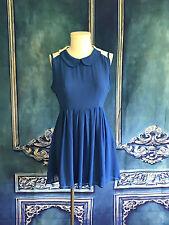D'Janeiro Peter Pan Collar SWEET Shirt Dress MEDIUM Classic Blue Pleated Skirt