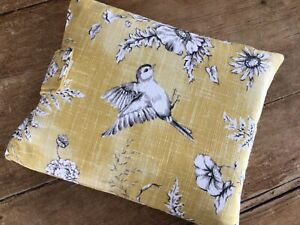 Handmade Book Cover Sleeve Tablet Pouch Washed Yellow Bird Floral Fabric