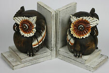 Handmade Carved Wooden Owl Bookends Set