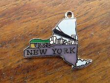 Vintage silver NEW YORK STATE MAP SKYLINE BRIDGE ENAMEL SOUVENIR charm #1 #P