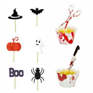 48pcs Halloween Cupcake Toppers Pumpkin Bat Ghost Skull Food Picks Party Decor