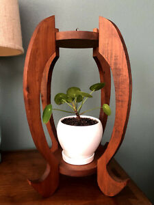 Handmade Wooden Plant Stand Footed or Hanging 18x10 Vintage Retro Home Decor