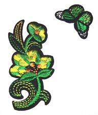 Green Flower and Butterfly Embroidery Sew, Iron On Patch for Clothes, Jeans, Bag