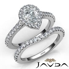 1.82ctw Halo Bridal Set U Pave Pear Diamond Engagement Ring GIA E-SI1 White Gold