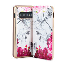 Ted Baker® Floral Luxury Mirror Folio Stylish Case for Galaxy S10 Babylon Nickel