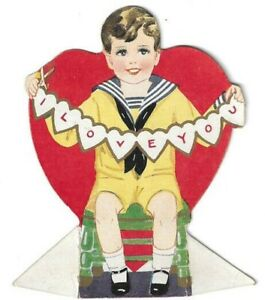 Vintage Valentines Day Card Die Cut Heart Shape Boy with Scissor Cut I love You