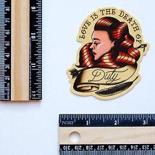 "#2853 LOVE DUTY Old School Vintage Tattoo Style Drawing Art 3"" Decal sticker"