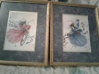 Reimel Abrams Watercolor Painting Prints Signed-Gold Frame Lady Blowing Trumpet
