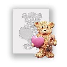 Teddy Mamá & Corazón Molde De Silicona, alimentos seguros, molde Sugarcraft Decoración de pasteles,