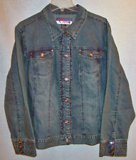 WAK WOMANS FADED DENIM RUFFLED JEAN JACKET SIZE 2X NEW WITH TAGS
