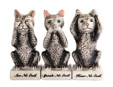 3 WISE KITTENS CATS CERAMIC SALT & PEPPER SHAKERS SET WITH TOOTHPICK HOLDER
