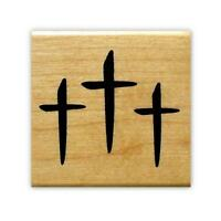 THREE CROSSES Christian Mounted rubber stamp, religious Easter, cross, Jesus #11