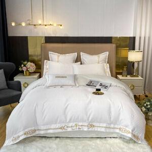 White romance bedding set 4pcs Cotton silk quilt bag bed sheet pillowcases set