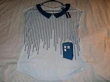 Dr Who Stripes Drip Top Police Public Call Box Blue Hot Topic Shirt Women Medium