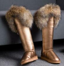 Womens Warm Knee High Fox Fur Waterproof Snow Boots Winter Lamb Wool Lined Shoes