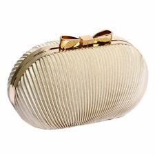 Nude Satin Clutch Bag Gold Clasp Evening Bridal Prom Party Handbag New
