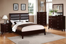 Cal King Bed Dresser Mirror Night Stand Modern Bedroom 4p Set Black Faux Leather