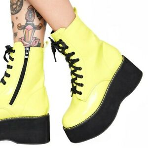 Punk  Gothic Women's Platform Wedge Heels Leather Lace up Ankle Boots Shoes Club