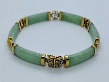 Vintage Chinese Green High Quality Transparent JADEITE 14K Gold Link Bracelet