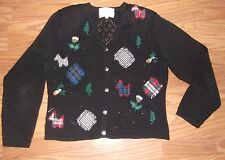 1995 SUSAN BRISTOL Traditions black sweater size M petites plaids open weave