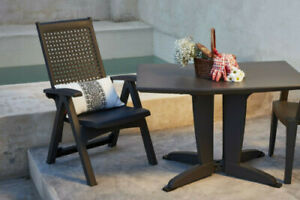 RESIN GATELEG GARDEN TABLE with 2 RECLINER CHAIRS in ANTHRACITE