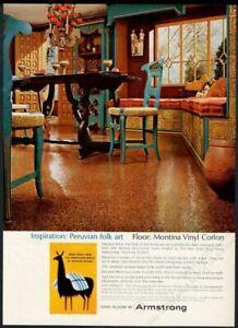 1965 Peru llama art Peruvian folk art theme Armstrong floors vintage print ad