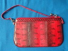 100% REAL GENUINE RED BLACK SEA SNAKE SKIN LEATHER SMALL HANDBAG PURSE POUCH