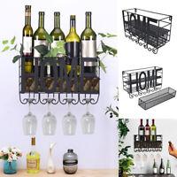 Wall Mount Metal Wine Rack Storage Shelf Glass Holder Hanging Home Decor JA
