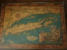 Vintage Long Island Large Pictorial Map On Board 1961 USA