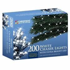 Christmas Workshop Lights 200 Ultra Bright LED Xmas String Chaser Lights - White