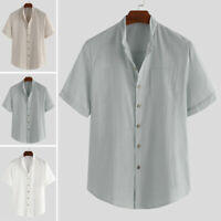 Vintage Men Linen Short Sleeve V-Neck Shirt Loose Casual Solid Plain Shirts Tops