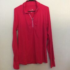 Tangerine Womens 1/2 Zip Pullover Athletic Top Size XL Pink Thumb Holes (Z13)