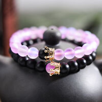 Luxury Distance Couple Bracelets With CZ Crown Her King His Queen Bracelets Gift