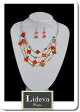 Set Kette Ohrringe Halskette Schmuckset Paris Perlmutt/Glas Blumen Leo Orange
