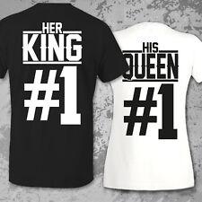 Pärchen Couple Paar Partner Pärchenshirt SET HER KING #1 HIS QUEEN #1