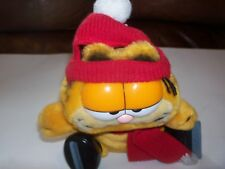 """Garfield Ice Skating Plush from 1981, 9 1/2"""" Tall w/ Skates, Scarf, & Hat"""