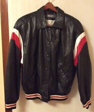 BALLY Made in Italy Black Genuine Soft  Leather Bomber Jacket Men's sz 10
