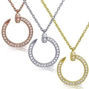 Nail Halo Simulated Diamond Pendant Rose, White or Yellow Gold Trendy Necklace