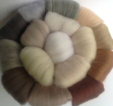 16 Neutral felting wool colours, needle-felting wool,