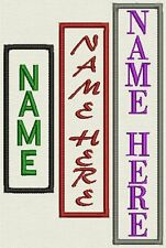 "Custom Vertical  Name Patch, Tag, Label - 1"" x 3"" to 5""- Iron On or Sew On"
