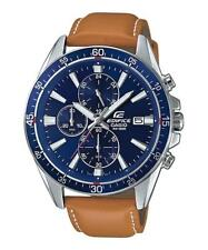 CASIO EDIFICE, EFR-546L-2A, NEOBRITE, BLUE DIAL, BROWN LEATHER BAND