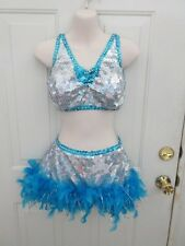 Teal Blue Silver Sequin Feather Jazz Dance Costume Medium Adult MA