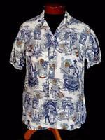 VERY RARE VINTAGE 1950'S BLUE & WHITE  NAUTICAL PRINT COTTON SHIRT SIZE MEDIUM