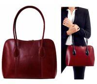 Ladies Handbag Italian Leather Dark Red Vera Pelle Womens Tote Shoulder Bag